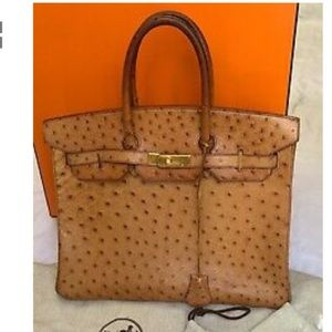 AUTHENTIC HERMES CARAMEL OSTRICH BIRKIN 35 BAG